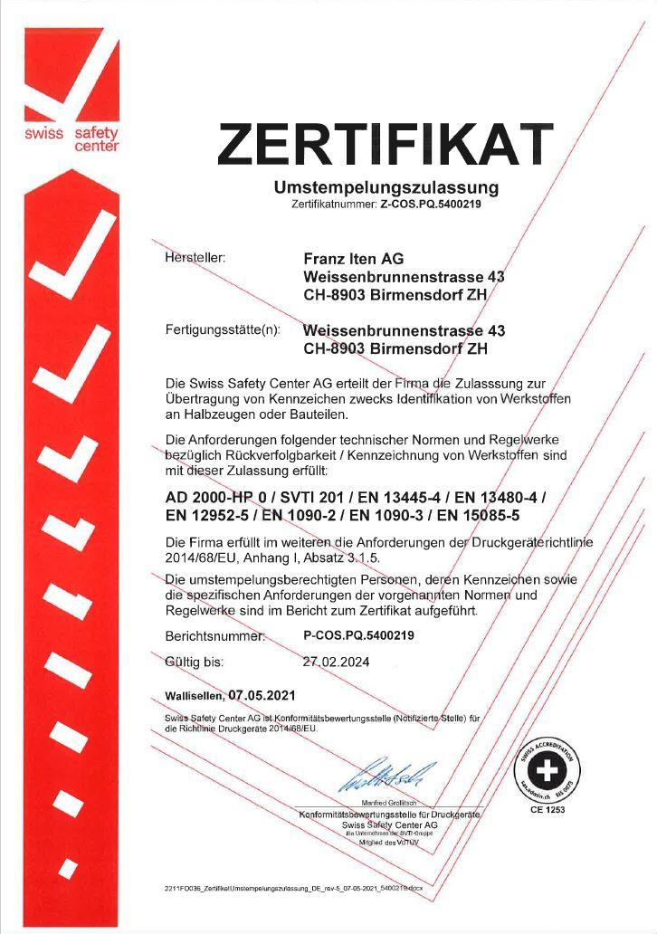 Umstempelung Zertifikat