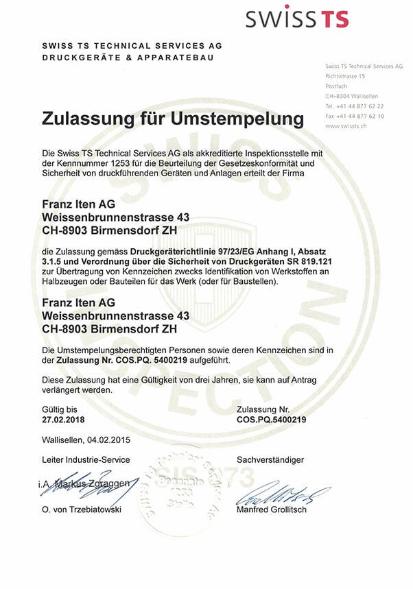 zertifikat umstemplung